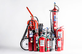 ALL TYPES AND CAPACITIES OF FIRE EXTINGUISHERS (PORTABLE AND WHEELED), FOAM APPLICATORS, FIRE HOSES, AEROSOL CAN SPRAY EXTINGUISHERS, ETC.