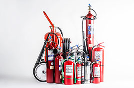 ALL TYPES AND CAPACITY OF FIRE EXTINGUISHERS: CO2, DRY POWDER, FOAM, WATER, FOR KITCHEN, ETC. PORTABLE AND WHEELED. AEROSOL FIRE EXTINGUISHERS (FIXED AND PORTABLE)